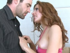 Busty red haired babe Evilyn Fierce gets her fancy tickled
