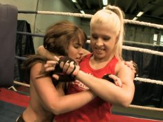 Two chubby cuties Valery Summers and Brandy Smile wrestle