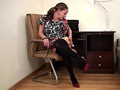 Rogue in stockings is touching her vag