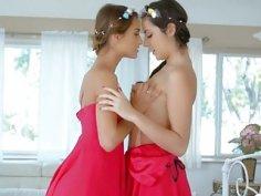 Luscious lesbians Lily Adams and Uma Jolie fingerfucking