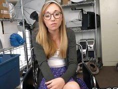 Nerdy blonde Emma Haize take black boner in office