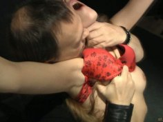 Red lingerie looks gorgeous on Tina Blade's whipped ass