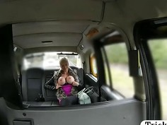 Huge tits amateur blond passenger analed by fake driver