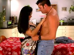 Horny brunette Isabella seduces and gives a blowjob