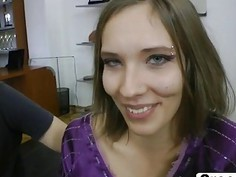 Petite Timea is fucked in threesome with bf and Rocco