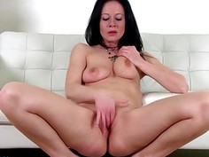 Hot brunette MILF toying herself