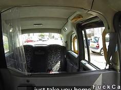 Busty blonde sucks big cock in London fake cab
