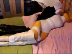 Pantyhose Encasement on the bed