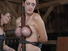 Tied up girl receives pleasuring for her fur pie