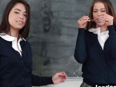 Classroom is a perfect place for supreme lesbian threesome