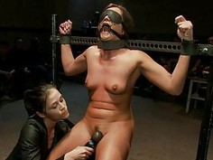 Darling acquires rough pussy torment in public