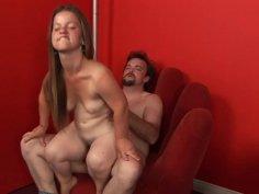 Horny boss takes his midget secretary on his office desk