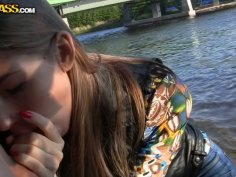 Flat as board light haired amateur nympho sucks a dick near the river