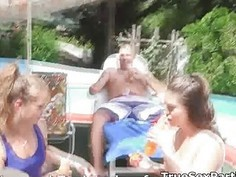 Foursome sunny oral pool party