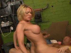 Friendly blonde slut Krissy Linn loves sucking cock deep down her throat