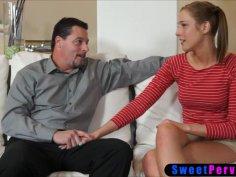 Curious teen stepdaughter asks stepdad to teach fuck