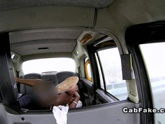 Ebony babe in interracial public sex in fake taxi
