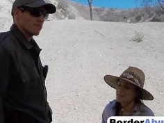 Sweet brunette Paisley Parker was detained by border patrol