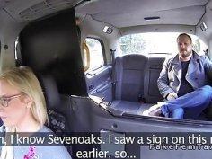 Blonde Milf cab driver bangs fat client