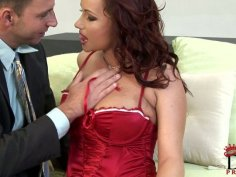 Rapacious red-haired milf tit fucks aroused dick