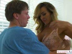 Australian MILF Aubrey Black teaches young guy new sex moves
