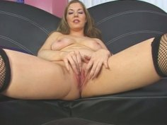 Blonde hooker Haley Scott blowjobs with her fucked up mouth
