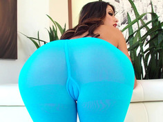 Adriana Chechik teasing in a blue pantyhose