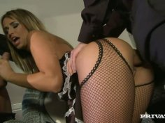 Curly babe in fishnet stockings Aleska Diamond is doggyfucked in threesome