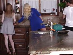 Hot 3some lessons with horny MILF Alura Jensen