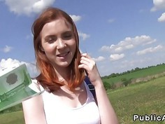 Redhead teen bangs huge dick outdoor