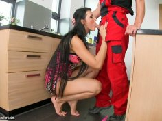 Whorish housewife Sandra Long gives a head to a plumber