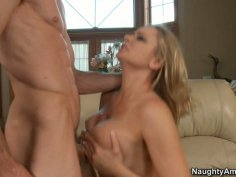 Lashy blonde chick Briana Banks riding cock and squeezing her nice titties