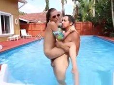 Sexy Teen Carolina Swims And Fucks In A Pool
