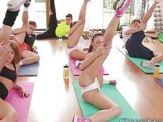Fitness coach bangs fake big tits teen at gym