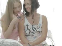 Naughty teen chicks share a boyfriend