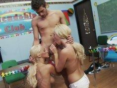 Two hussy blondes Breanne Benson & Tasha Reign pass sucking exams
